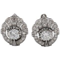 Sublime Art Deco 1.70 Carat Diamond TCW Clip-On Platinum Earrings