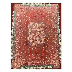 Sublime Art Deco Rug Signed by Maurice Dufrene, Red with Floral Decoration