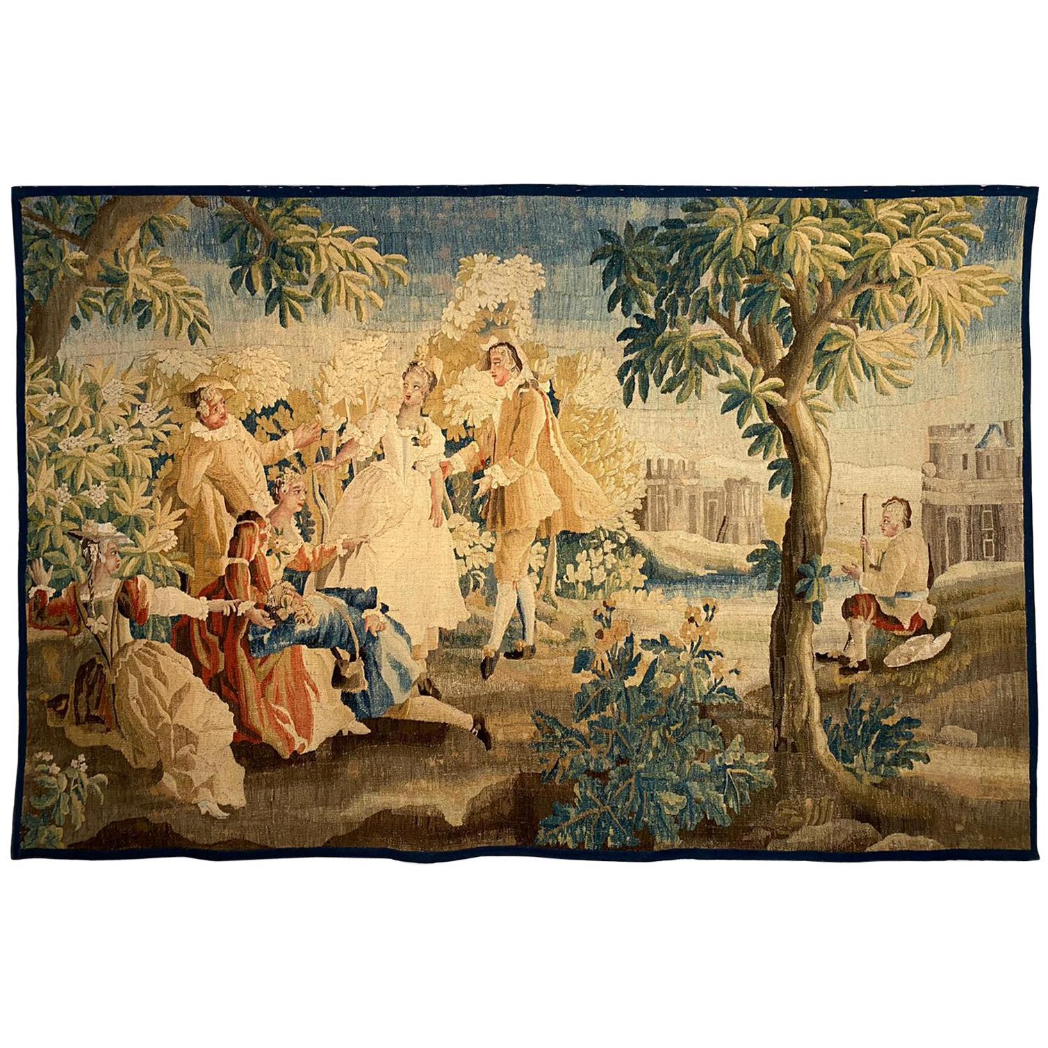 Sublime Aubusson Tapestry 18th Century, Louis XVI Period, Romantic Scene