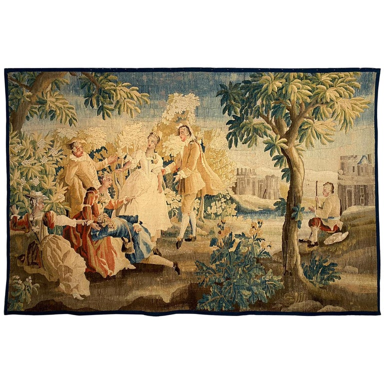Sublime Aubusson Tapestry 18th Century, Louis XVI Period, Romantic Scene For Sale
