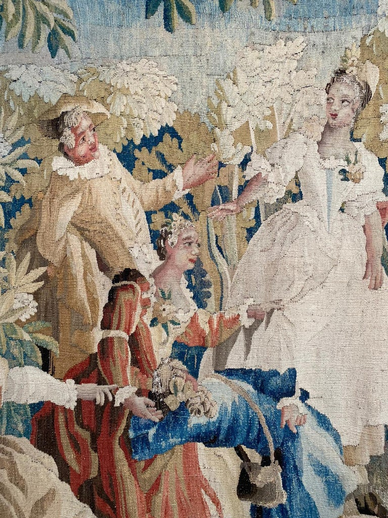 Classical Greek Sublime Aubusson Tapestry 18th Century, Louis XVI Period, Romantic Scene For Sale