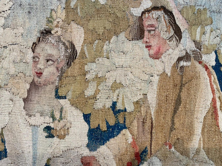 French Sublime Aubusson Tapestry 18th Century, Louis XVI Period, Romantic Scene For Sale
