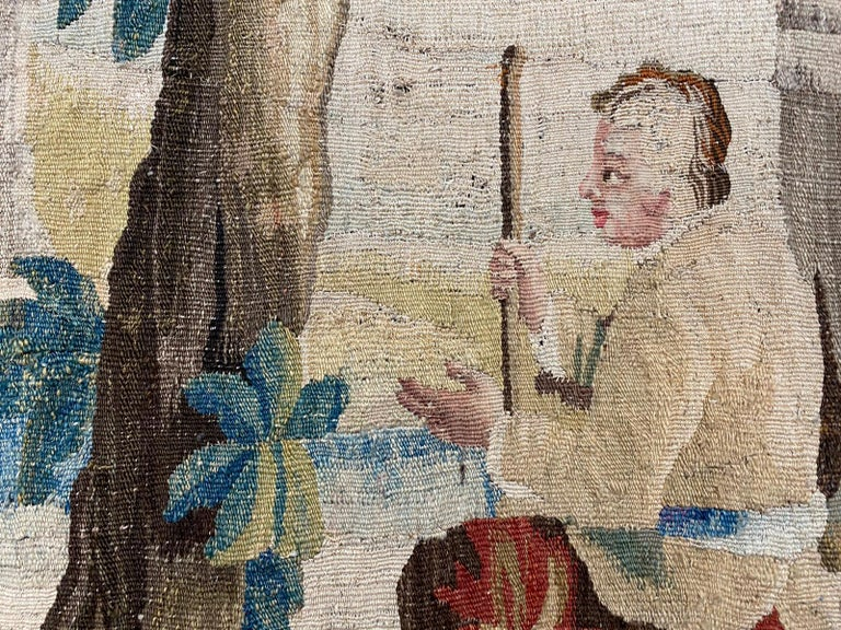 Hand-Knotted Sublime Aubusson Tapestry 18th Century, Louis XVI Period, Romantic Scene For Sale