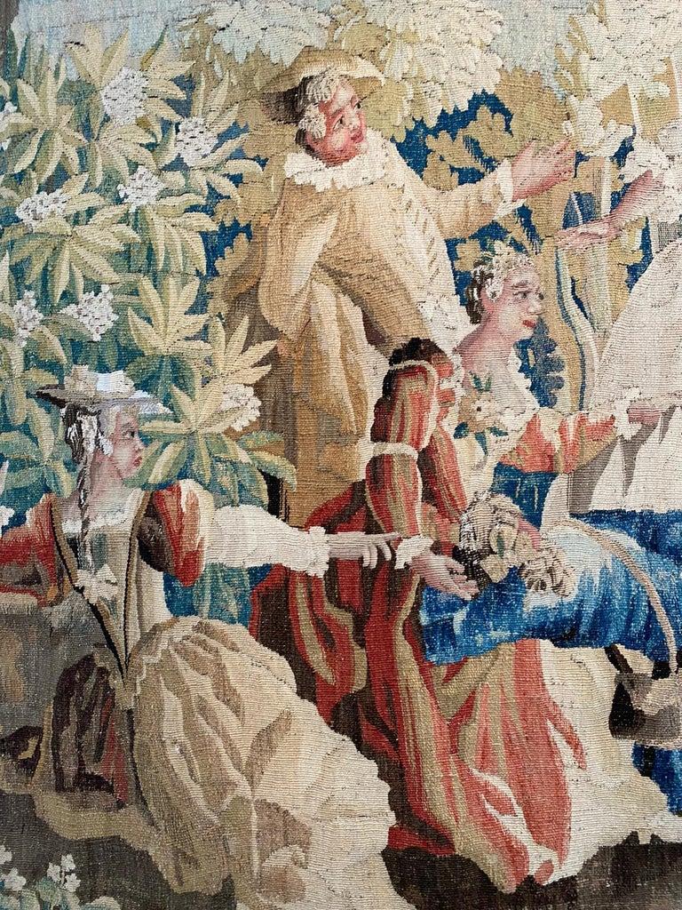Sublime Aubusson Tapestry 18th Century, Louis XVI Period, Romantic Scene In Excellent Condition For Sale In Paris, Ile de France
