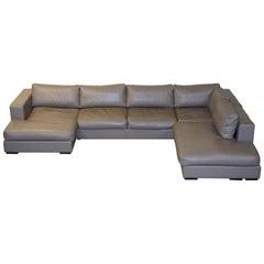 Sublime Bo Concepts Cenova Grey Leather Corner Sofa Chaise Seats 5-6