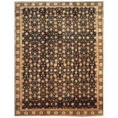 Sublime  Elegant Rug Tabriz in Black and Gold 100% Natural Silk