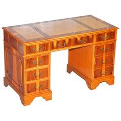 Sublime Burr Yew Wood Twin Pedestal Partner Desk Split Panelled Leather Top