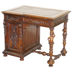 Sublime circa 1840 Italian Hand Carved Walnut Venetian Writing Table Desk Dragon
