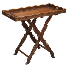 Sublime circa 1880 Antique Hand Carved Anglo Indian Serving Tray Table Must See