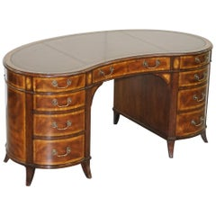 Sublime Crotch Mahogany & Walnut with Brown Leather Gold Leaf Top Kidney Desk