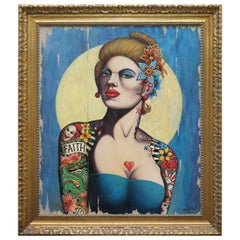 Sublime David Hall Oil on Boarding Painting of a Very Cool Heavily Tattooed Chic
