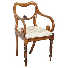 Sublime Early Victorian Walnut Kidney Shaped Back Carver Occasional Armchair