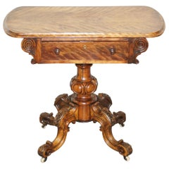 Sublime Early Victorian Walnut Side Occasional Table Ornately Carved Base & Legs