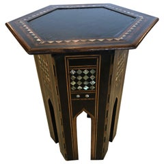 Sublime Ebonized Moroccan Side Table with Mother of Pearl Inlay