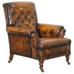 Sublime English Victorian Fully Restored Library Reading Brown Leather Armchair