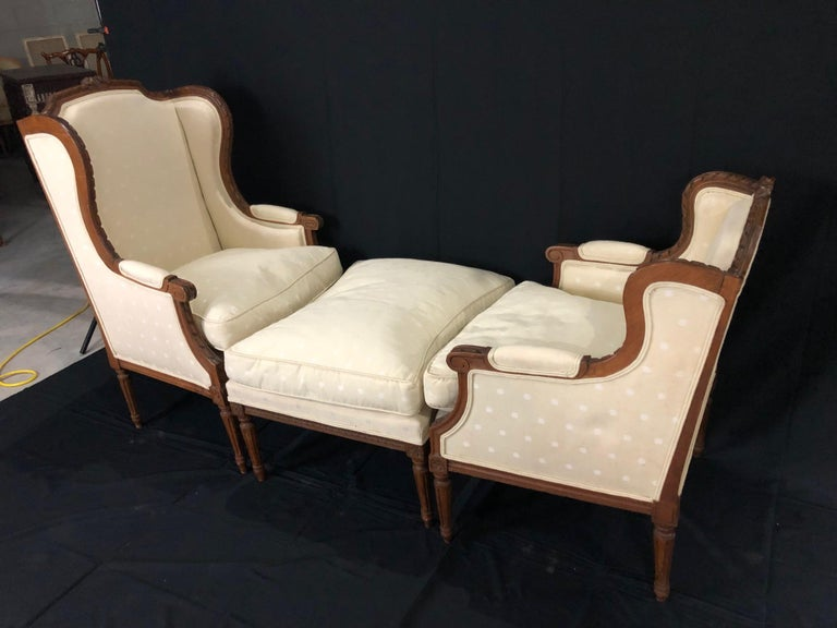 Sublime French Antique Louis XVI Style Duchesse Brisee Chaise Longue For Sale 4