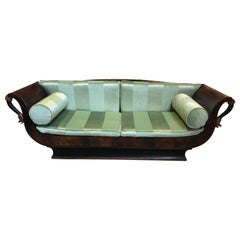 Sublime French Empire Walnut Curvy Sofa with Gilded Swans and Velvet Upholstery