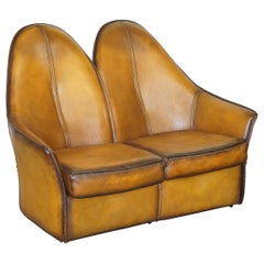 Sublime Fully Restored Art Modern Curved Back Brown Leather Sofa Part of Suite