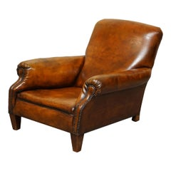 Sublime Fully Restored Victorian Long Seat Platform Brown Leather Club Armchair