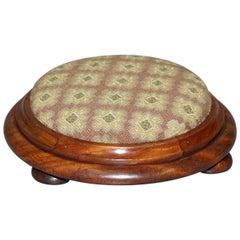 Sublime Georgian 1780 Small Round Walnut Footstool Very Decorative Little Piece