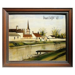 "Sublime Landscape Painting Signed and Dated ""Bernard Buffet 61"""