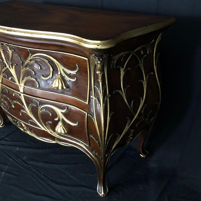 Sublime Louis XV Serpentine Chest or Commode with Rare Gold Floral Details 3