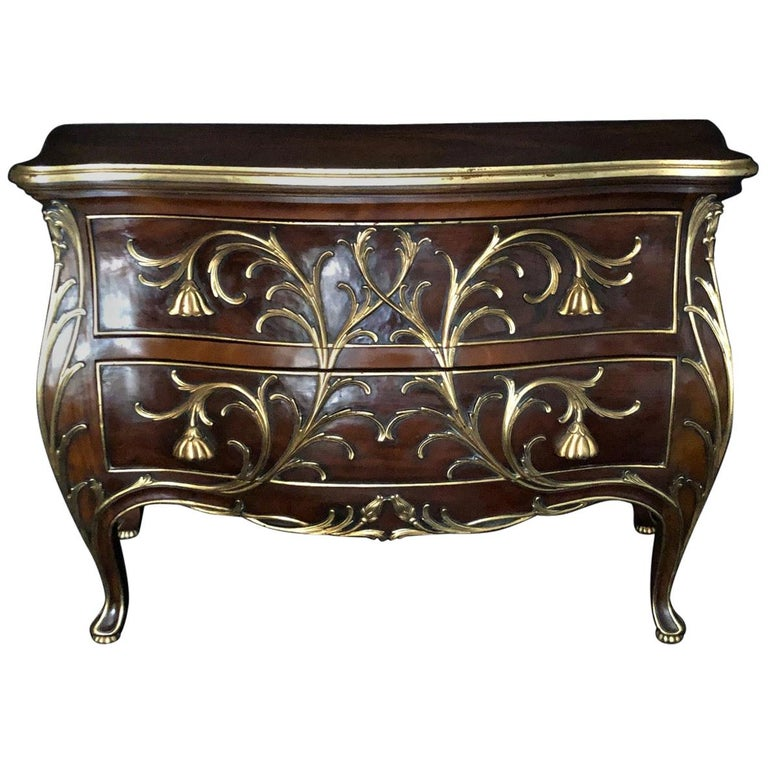 Sublime Louis XV Serpentine Chest or Commode with Rare Gold Floral Details