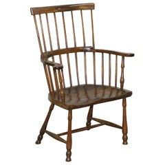 Sublime Original Antique Elm 19th Century circa 1840 Comb Back Windsor Armchair