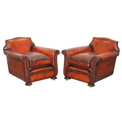 Sublime Pair of Art Deco Fully Restored Whisky Brown Leather Club Armchairs