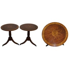Sublime Pair of Burr Walnut Marquetry Inlay Large Side Tables Lion Paw Castors