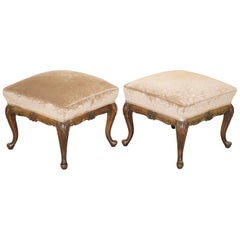 Sublime Pair of circa 1860 Antique Victorian Footstools Stools Carved Mahogany