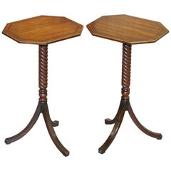 Sublime Pair of Large Regency 1810 Side Tables with High Tripod Twisted Bases