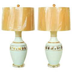 Sublime Pair of Neoclassical Lamps in Sultanabad Blue by Marbro, circa 1960