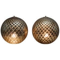Sublime Pair of Original Murano Glass Diamond Patina Sphere Gold Tables Lamps
