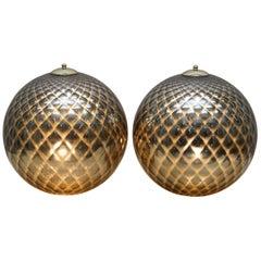 Sublime Pair of Original Murano Glass Diamond Patina Sphere Silver Tables Lamps