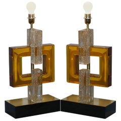 Sublime Pair of Original Murano Glass Modernist Solid Heavy Large Table Lamps