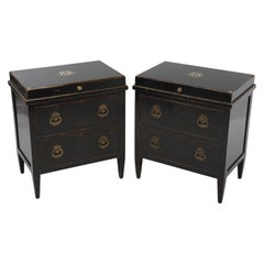 Sublime Pair of Regency Ebonized Small Commodes or Nightstands