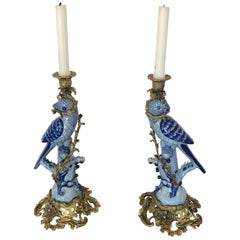 Sublime Pair of Tone on Tone Blue Porcelain Parrot Candlesticks