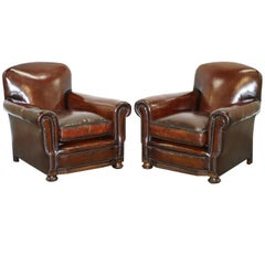 Sublime Pair of Victorian Fully Restored Cigar Brown Leather Club Armchairs