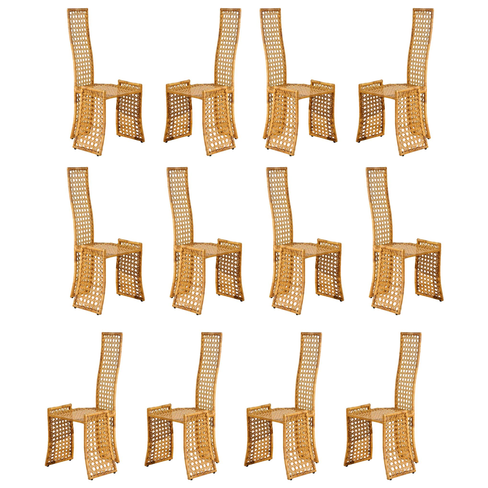 Sublime Restored Set of 10 Cane Dining Chairs by Danny Ho Fong, circa 1975