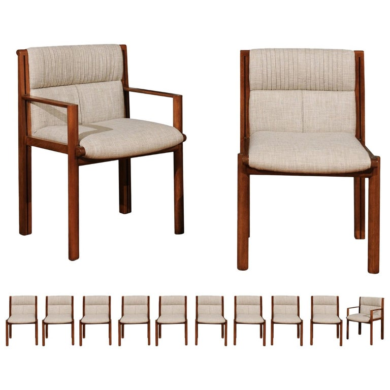 Sublime Restored Set of 12 Dining Chairs by John Saladino for Baker, circa 1985 For Sale