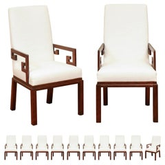 Sublime Set of 12 Greek Key Arm Dining Chairs by Michael Taylor, circa 1970