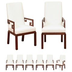 Sublime Set of 8 Greek Key Parsons Dining Chairs by Michael Taylor, circa 1970