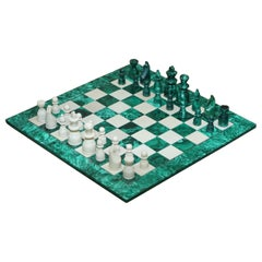 Sublime Solid Malachite and Marble Full Sized Chess Set Must See Pictures