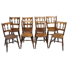 Sublime Suite of Eight circa 1840 English Windsor Thames Valley Dining Chairs 8