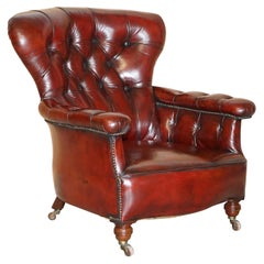 Sublime Victorian 1860 Antique Restored Bordeaux Leather Chesterfield Armchair