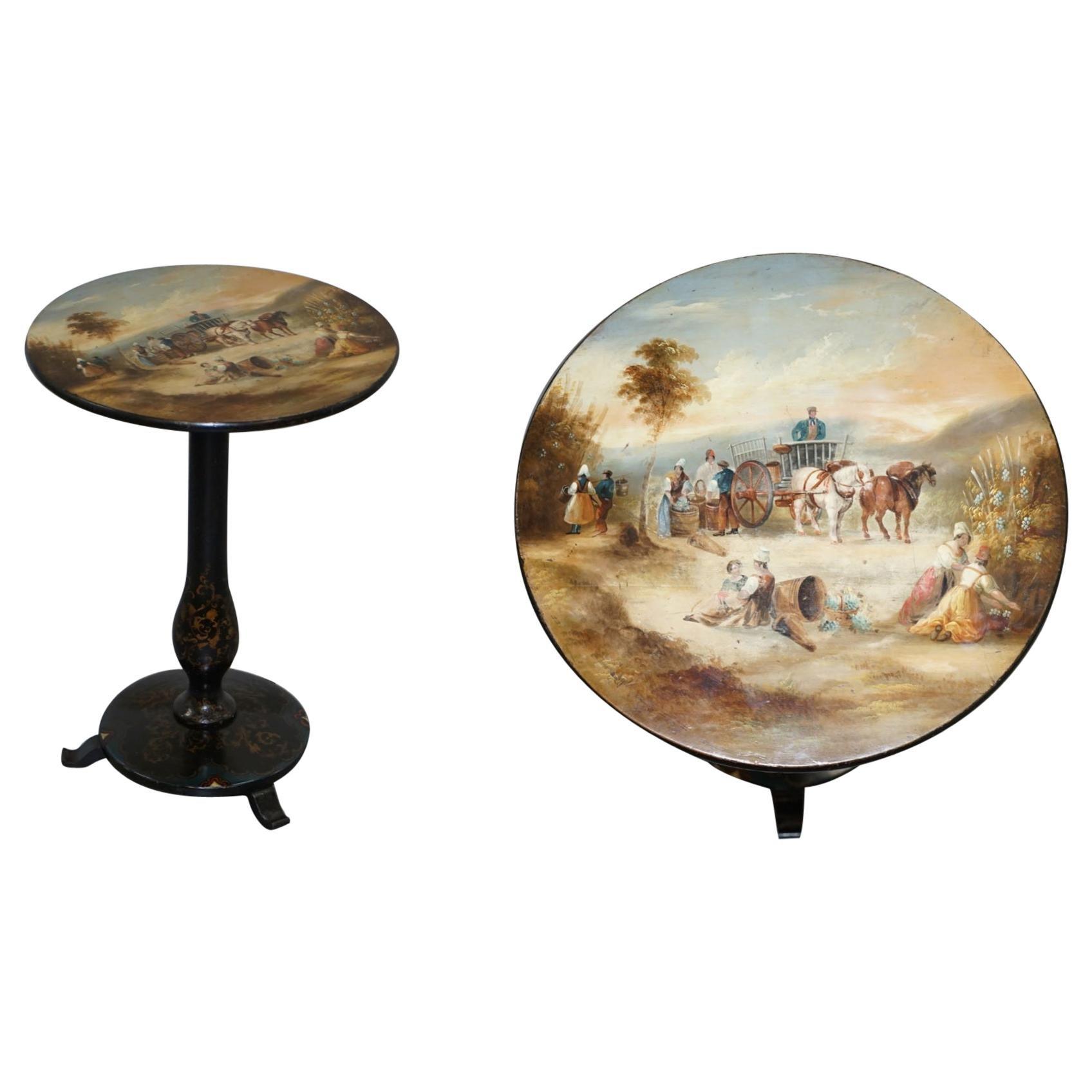 Sublime Victorian Polychrome Painted Parcel Gilt Tilt-Top Occasional Wine Table