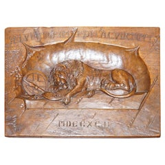 Sublime Vintage Hand Cavred Wooden Plaque & Documents of the Lion of Lucerne