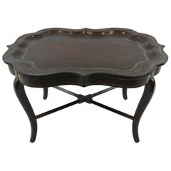 Sublimely Crafted Leather Wrapped Tray Coffee Table by Maitland Smith