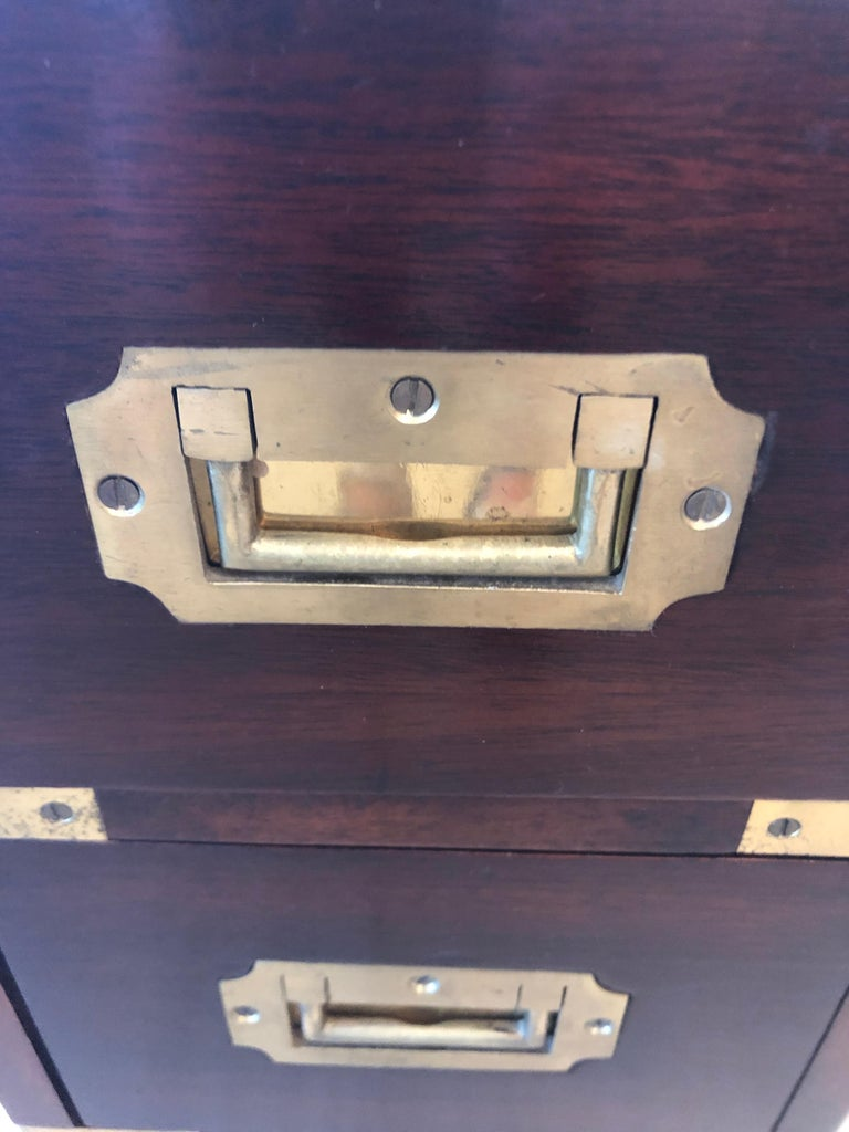 Sublimely Elegant Tall Narrow English Campaign Chest or Side End Table For Sale 7